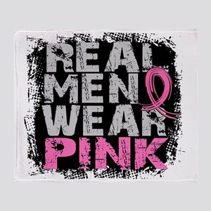 - Real Men Wear Pink Breast Cancer Throw Blanket