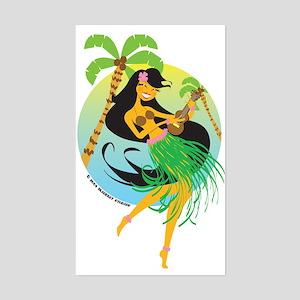 Tiki Girl Rectangle Sticker