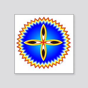 "EAGLE FEATHER CROSS MEDALLI Square Sticker 3"" x 3"""