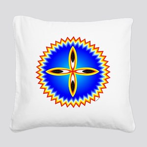 EAGLE FEATHER CROSS MEDALLION Square Canvas Pillow
