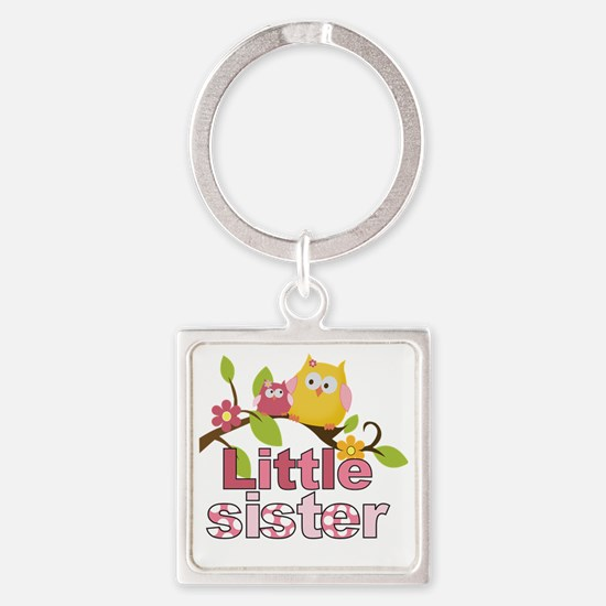 Happy Owls Little Sister Square Keychain