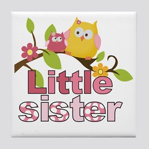 Happy Owls Little Sister Tile Coaster