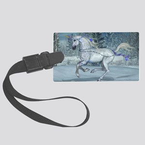 2012 Holiday Unicorn Blue Large Luggage Tag