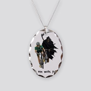 Grim Reaper Chasing Cyclist Necklace Oval Charm
