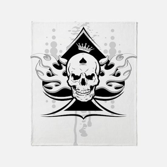 ace of spades skull Throw Blanket
