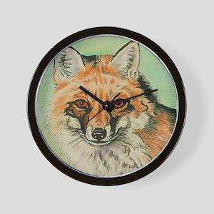 Red Fox headstudy Wall Clock