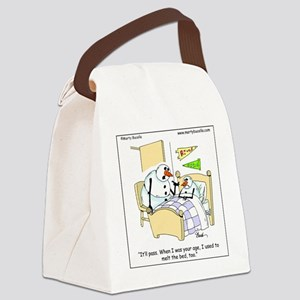 Snowman melts his bed Canvas Lunch Bag