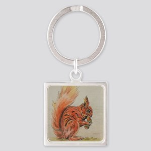 Red Squirrel with Acorn Square Keychain