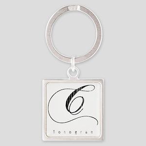 Letter C Monogram Square Keychain