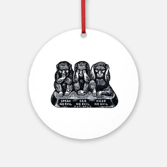 Three Monkeys Ornament (Round)