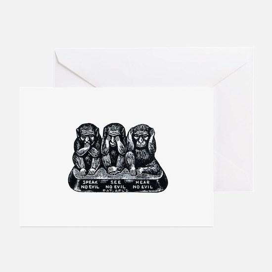 Three Monkeys Greeting Cards (Pk of 10)
