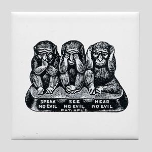Three Monkeys Tile Coaster