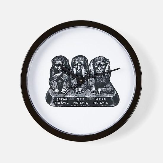 Three Monkeys Wall Clock
