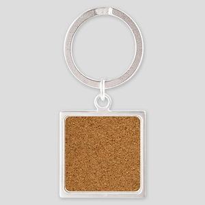 Cool Chic Cork Designer Square Keychain