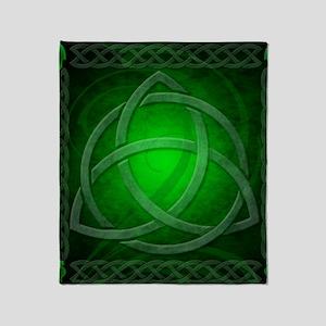 Vintage Celtic Dragon Knotwork Green Throw Blanket