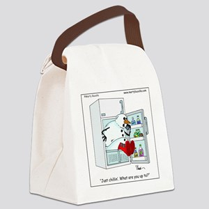 Snowman chillin Canvas Lunch Bag