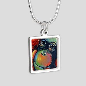 Orangutan Sam Silver Square Necklace