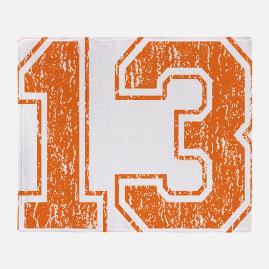 Retro 13 Orange Throw Blanket