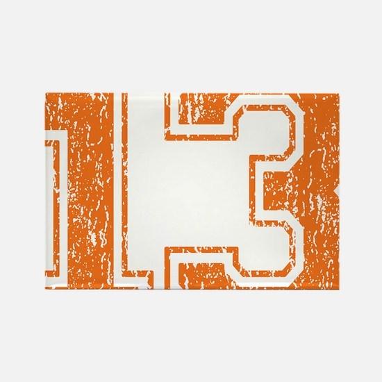 Retro 13 Orange Rectangle Magnet