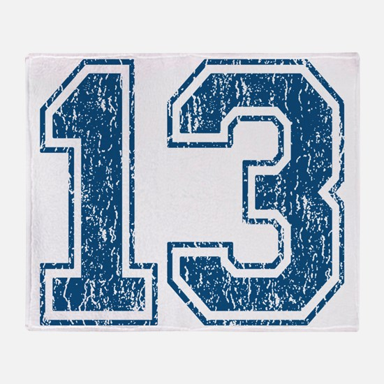 Retro 13 Blue Throw Blanket