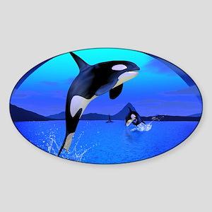 orca_Rectangular Canvas Pillow Sticker (Oval)