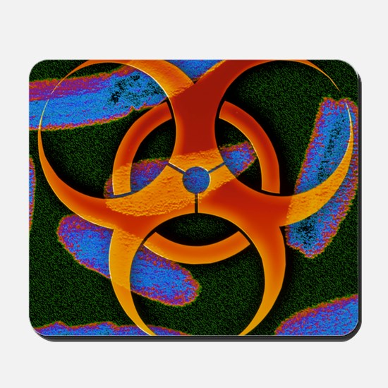 Anthrax bacteria and biohazard symbol Mousepad