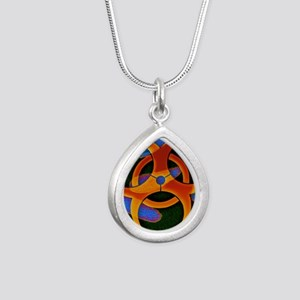 Anthrax bacteria and bio Silver Teardrop Necklace