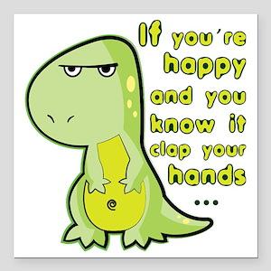 """T-rex hands Square Car Magnet 3"""" x 3"""""""