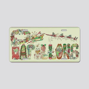Christmas Papillons and Pha Aluminum License Plate