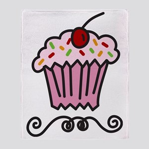 Pink Cupcake Throw Blanket