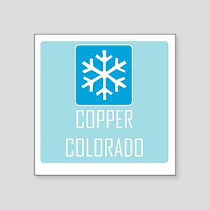 """Copper Snowflake Badge Square Sticker 3"""" x 3"""""""