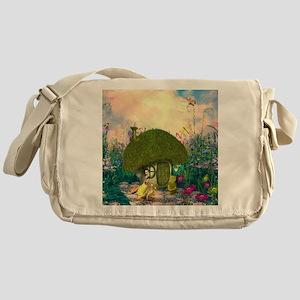 Cute fairy sitting on a mushroom Messenger Bag