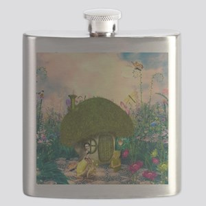 Cute fairy sitting on a mushroom Flask