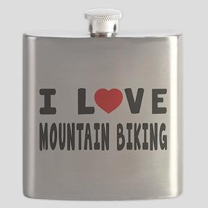 I Love Mountain Biking Flask
