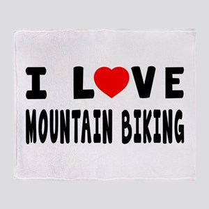 I Love Mountain Biking Throw Blanket