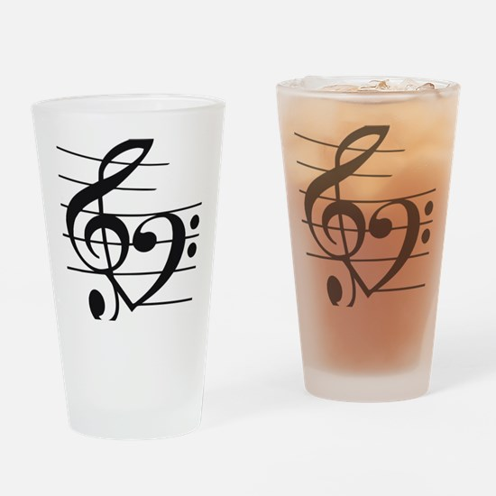 Music heart Drinking Glass