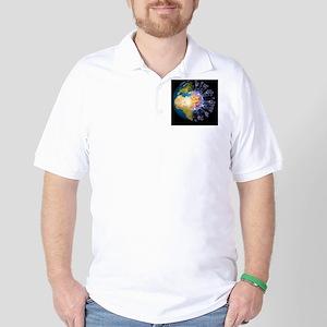 Global flu pandemic, artwork Golf Shirt