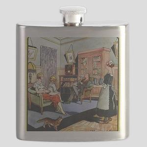Family life, 1930s artwork Flask