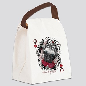 Pug Queen of Hearts Canvas Lunch Bag