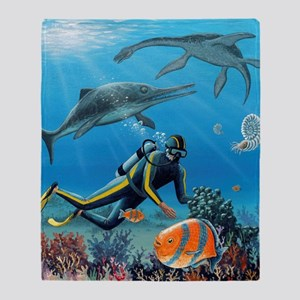 Diver and prehistoric life, artwork Throw Blanket