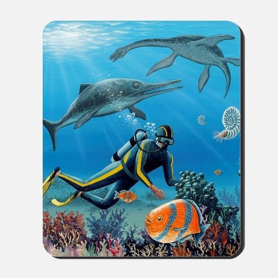Diver and prehistoric life, artwork Mousepad