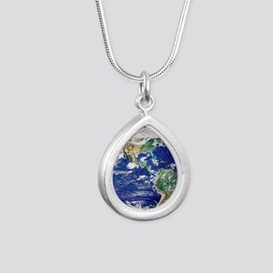 Earth from space, satell Silver Teardrop Necklace