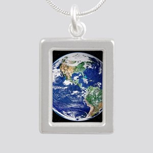 Earth from space, satell Silver Portrait Necklace