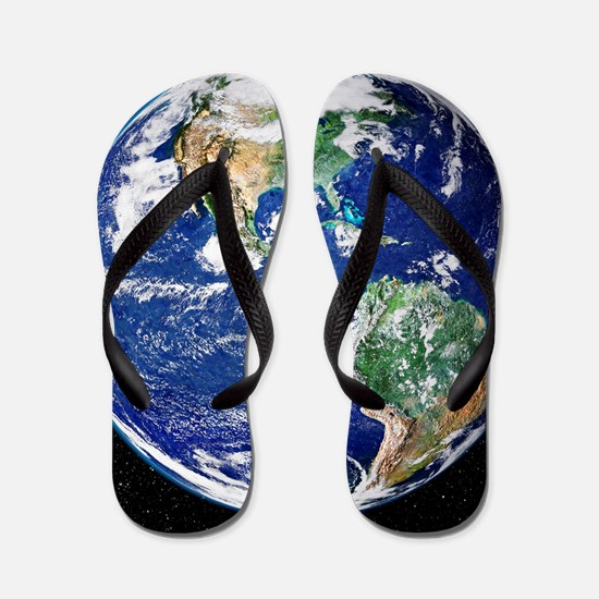 Earth from space, satellite image Flip Flops