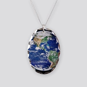 Earth from space, satellite im Necklace Oval Charm