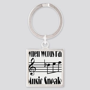 Music Speaks Square Keychain