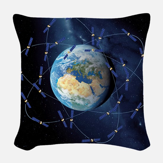 Galileo navigation satellite,  Woven Throw Pillow