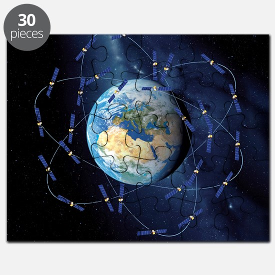 Galileo navigation satellite, artwork Puzzle
