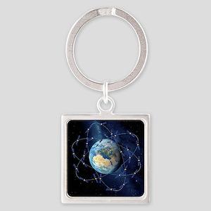 Galileo navigation satellite, artw Square Keychain