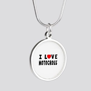 I Love Motocross Silver Round Necklace